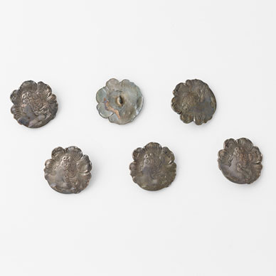 A SET SIX SILVER BUTTONS