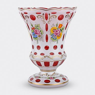 BOHEMIAN DOUBLE OVERLAY GLASS VASE