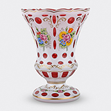 -BOHEMIAN DOUBLE OVERLAY GLASS VASE