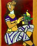 When I begin to paint hold the sky in your hand as the stretch of my canvas is unknown to me - M F Husain - Auction 2001 (December)