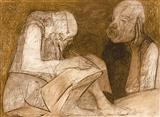 Mehtaji Dictating his Last Will to Lala Kedarnath Khanna - Krishen  Khanna - Auction 2002 (December)