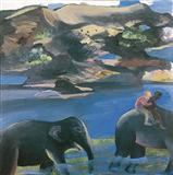 Two men on an Elephant - Bhupen  Khakhar - Auction 2002 (May)