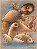 Swan, Fish and the Fairy - Sanat  Kar - Auction 2002 (May)