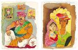 a) Sir Hukamchand - Marwari Millionare of Indore b) Crown Prince and Princess of Jaisalmer - M F Husain - Auction 2003 (May)