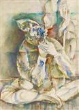 Man Smoking Hookah - Paritosh  Sen - Auction 2003 (May)
