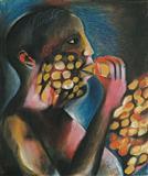 Man eating Ladoo - Bhupen  Khakhar - Auction Dec 06