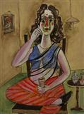 Woman with Cell Phone or Phone Sundari - Paritosh  Sen - Auction Dec 06