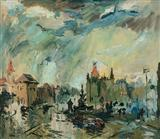 Flora Fountain in Monsoon - S H Raza - Auction May 2006