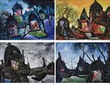 a) Winter at Banaras b) Sunrise at Banaras c) Boats and Temples at Banaras d) Monsoon at Banaras - Manu  Parekh - Summer Auction 2007