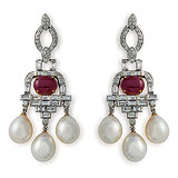 A PAIR OF DIAMOND, PEARL AND RUBY EAR PENDANTS -    - Auction of Fine Jewels