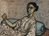Woman Resting on a Pillow - Jogen  Chowdhury - Summer Auction 2008