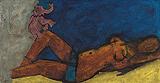 Maya with Pink Elephant - M F Husain - Autumn Auction 2009