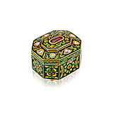 A RUBY, DIAMOND AND ENAMEL BOX -    - Spring Auction of Fine Jewels