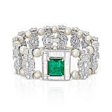 AN EMERALD, DIAMOND AND PEARL BRACELET -    - Spring Auction of Fine Jewels