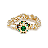 A PEARL AND EMERALD BRACELET -    - Spring Auction of Fine Jewels