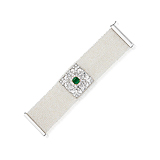 A PEARL, DIAMOND AND EMERALD BRACELET -    - Spring Auction of Fine Jewels