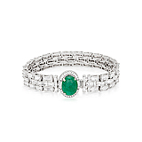 AN EMERALD AND DIAMOND BRACELET -    - Spring Auction of Fine Jewels