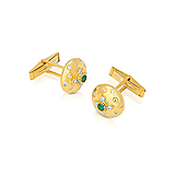 A PAIR OF EMERALD AND DIAMOND CUFFLINKS -    - Spring Auction of Fine Jewels