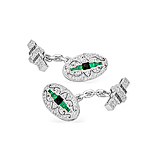 A PAIR OF DIAMOND AND EMERALD CUFFLINKS -    - Spring Auction of Fine Jewels