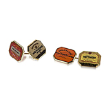 A PAIR OF GOLD `CHAMPAGNE LABEL` CUFFLINKS, BY BENJAMIN C. FROBISHER -    - Spring Auction of Fine Jewels