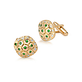 A PAIR OF TSAVORITE AND DIAMOND `TURTLE` CUFFLINKS -    - Spring Auction of Fine Jewels