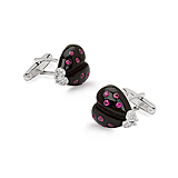 A PAIR OF ONYX AND RUBY `LADY BUG` CUFFLINKS -    - Spring Auction of Fine Jewels