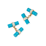A PAIR OF TURQUOISE AND DIAMOND CUFFLINKS -    - Spring Auction of Fine Jewels