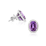 A PAIR OF AMETHYST AND DIAMOND EAR CLIPS -    - Spring Auction of Fine Jewels