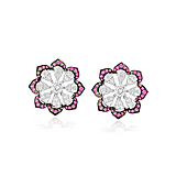 A PAIR OF DIAMOND AND RUBY `FLOWER` EAR CLIPS -    - Spring Auction of Fine Jewels