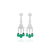 AN EXQUISITE PAIR OF EMERALD AND DIAMOND EAR PENDANTS -    - Spring Auction of Fine Jewels