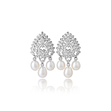 A PAIR OF DIAMOND AND PEARL EAR PENDANTS -    - Spring Auction of Fine Jewels