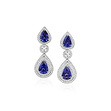 A PAIR OF TANZANITE AND DIAMOND EAR PENDANTS -    - Spring Auction of Fine Jewels