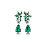 A REGAL PAIR OF EMERALD EAR PENDANTS -    - Spring Auction of Fine Jewels