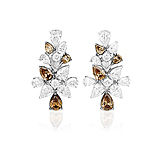 A PAIR OF DIAMOND AND COLOURED DIAMOND EAR CLIPS -    - Spring Auction of Fine Jewels