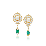 A PAIR OF PEARL, EMERALD AND DIAMOND EAR PENDANTS -    - Spring Auction of Fine Jewels