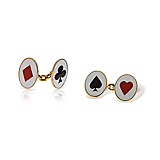 A PAIR OF ENAMEL `PLAYING CARD` CUFFLINKS -    - Spring Auction of Fine Jewels