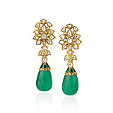 AN ELEGANT PAIR OF EMERALD AND DIAMOND EAR PENDANTS -    - Spring Auction of Fine Jewels