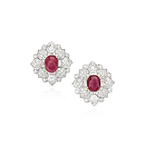 A PAIR OF RUBY AND DIAMOND EAR CLIPS -    - Spring Auction of Fine Jewels