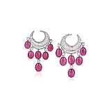 A PAIR OF RUBY AND DIAMOND EAR PENDANTS -    - Spring Auction of Fine Jewels