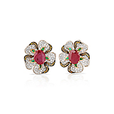 A PAIR OF RUBY, DIAMOND AND COLOURED DIAMOND EAR CLIPS -    - Spring Auction of Fine Jewels