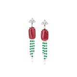 A PAIR OF SPINEL, EMERALD AND DIAMOND EAR PENDANTS -    - Spring Auction of Fine Jewels