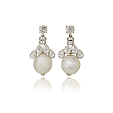 A PAIR OF PEARL AND DIAMOND EAR PENDANTS -    - Spring Auction of Fine Jewels