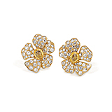 A PAIR OF YELLOW SAPPHIRE AND DIAMOND EAR CLIPS -    - Spring Auction of Fine Jewels
