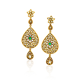 A PAIR OF GOLD AND DIAMOND EAR PENDANTS -    - Spring Auction of Fine Jewels