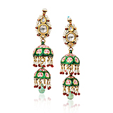 A PAIR OF DIAMOND, PEARL AND ENAMEL `JHUMKI` EAR PENDANTS -    - Spring Auction of Fine Jewels