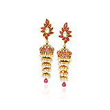 A PAIR OF RUBY AND PEARL `JHUMKI` EAR PENDANTS -    - Spring Auction of Fine Jewels