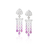 A PAIR OF PINK SAPPHIRE AND DIAMOND EAR PENDANTS -    - Spring Auction of Fine Jewels
