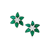 A PAIR OF EMERALD AND DIAMOND EAR CLIPS -    - Spring Auction of Fine Jewels