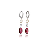 A PAIR OF RUBY, DIAMOND AND PEARL EAR PENDANTS -    - Spring Auction of Fine Jewels