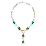 AN IMPRESSIVE EMERALD, COLOURED DIAMOND AND DIAMOND NECKLACE -    - Spring Auction of Fine Jewels